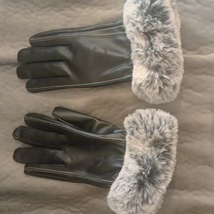 Lambskin leather and fur Gloves